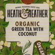 Heath & Heather Organic Green Tea with Coconut ~ 20 Tea Bags